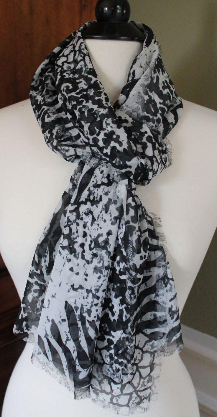 Black, White and Dark Grey Animal Print Lightweight Chiffon Scarf by StudioHarmony on Etsy https://www.etsy.com/listing/270133912/black-white-and-dark-grey-animal-print