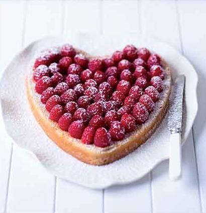 Raspberry, lemon and lime heart cake