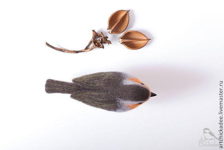 Купить Малиновка (Зарянка) - интерьерная игрушка - оранжевый, малиновка, птица, птичка, валяная игрушка
