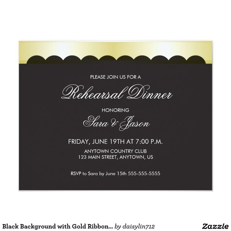 creative wording for rehearsal dinner invitations%0A Black Background with Gold Ribbon Rehearsal Dinner     x    Paper Invitation  Card