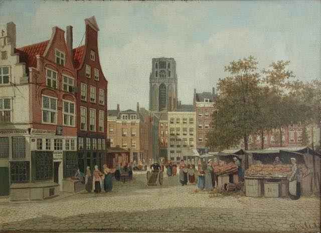 Rotterdam - Grotemarkt op marktdag met geheel links het huis 'In Duizend Vreezen'. F.L. van Gulik (1841-1899) dateerde zelden zijn schilderijen, bij het museum hanteert men circa 1880.