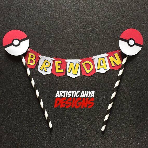 Pokemon Go Cake Bunting Topper Personalized - Pokemon Party - Pokeball Decorations - Team Mystic Valor Instinct