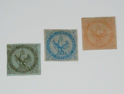 Stamp Pickers French Colonies 1859-65 Eagle & Crown MH Lot Scott #1, 4-5 $86