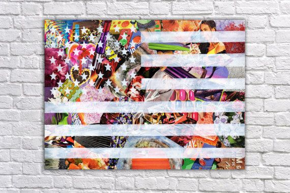 American Flag wall Art Mixed Media Collage Art by ArtPopTart