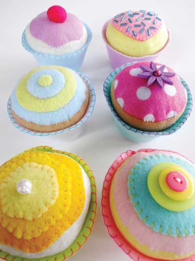Felt Cupcakes Sewing Pattern Download from e-PatternsCentral.com -- These adorable felt cupcakes are simple to create! They are fun toys for children, or they make great pincushions for sewers.