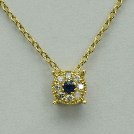 Lant si pandantiv din aur galben cu safir si diamante
