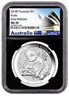 2018-P Australia 1 oz Silver Koala $1 NGC MS70 ER Black Excl PRESALE SKU52184 Best Value #blacksilver #blacker #silverblack