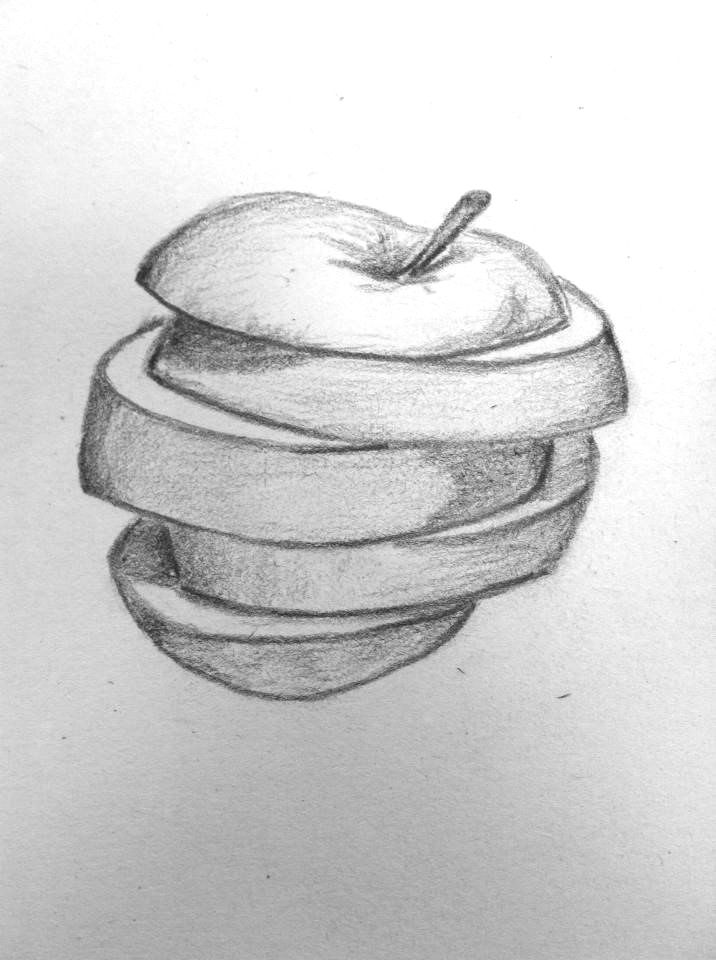 Sliced apple sketch