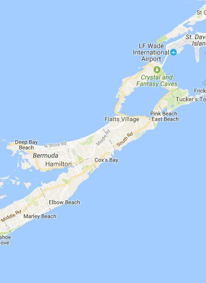 Bermuda Beaches - powered by MapsMarker.com - Justin Plus Lauren