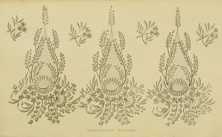 Needlework Pattern, Sept 1815  Regency Era Needlework Patterns from Ackermann's Repository 1811-1815