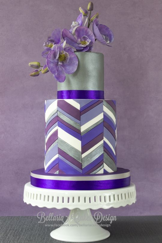 Purple chevron double barrel cake http://cakesdecor.com/cakes/107647-purple-chevron-double-barrel-cake