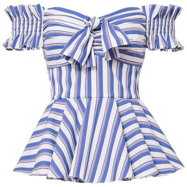 Caroline Constas Women's Artemis Striped Off Shoulder Bustier Top ($395) ❤ liked on Polyvore featuring tops, blouses, stripe, bow top, striped off the shoulder top, off shoulder peplum top, blue striped top and corset style tops