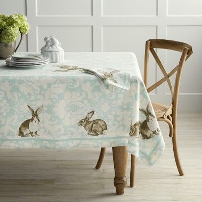 "Bunny Damask Tablecloth, 70"" x 108"" #williamssonoma"