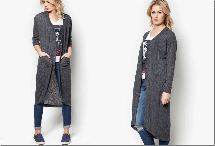 long cardigan in dark grey