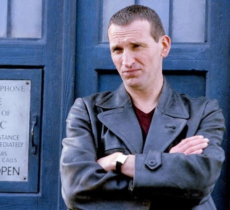 Don't get me wrong, 10 (David Tennant) will always be my Doctor, but I will always have a soft spot for 9 (Chris Eccleston). I liked his relationship with Rose (Billie Piper) much better, that and he was more goofy.
