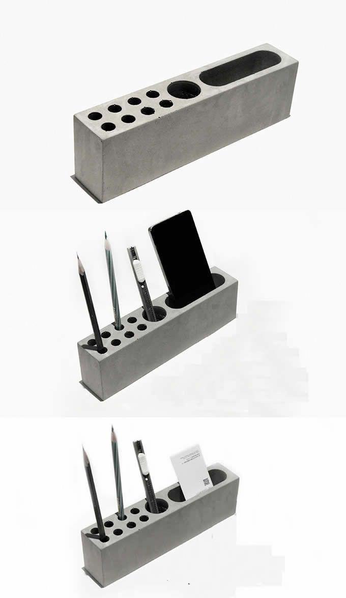 Pen Stand Holder Concrete Desktop Stationery Organizer Storage Cell Phone Cellphoneholder