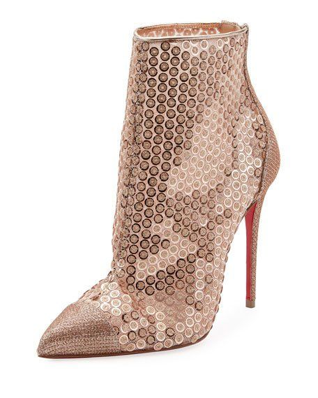 69cd00f3e2 Christian Louboutin GipsyBooties Sequined Red Sole Ankle Boots in ...