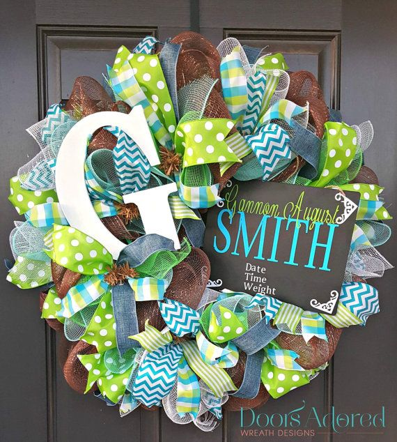 This listing is for a CUSTOM Newborn Wreath. These wreaths are great gifts for a mommy-to-be to hang on their room door during their hospital stay,