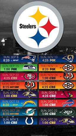 Pittsburgh Steelers 2019 Mobile City NFL Schedule