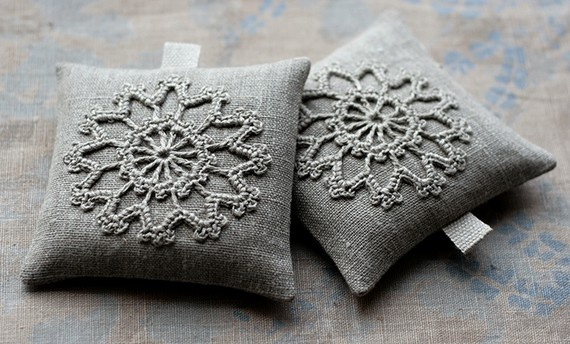 Lavender sachets -- crochet motif -- set of 2.  namolio  $18