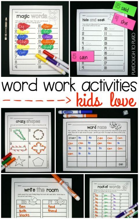 Word Work Activities Kids LOVE!