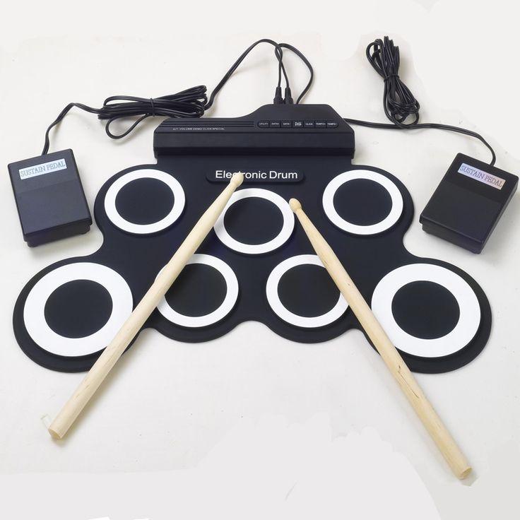 Profesional 7 Pad Digital Portátil Plegable Musical Silicona Set de Batería Electrónica con Stick Roll-up
