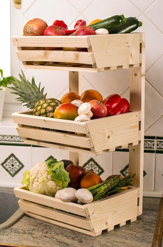 3 Tier Wall Mounted Wooden Vegetable Rack Simple In 2020 Vegetable Rack Vegetable Stand Vegetable Basket