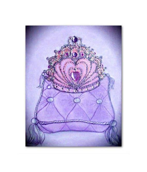 Princess Purple Crown Baby Girl Nursery Art Princess Wall