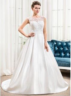 Vestidos princesa/ Formato A Decote redondo Cauda de sereia Cetim Tule Renda Vestido de noiva com Pregueado Bordado Lantejoulas - R$ 623,09