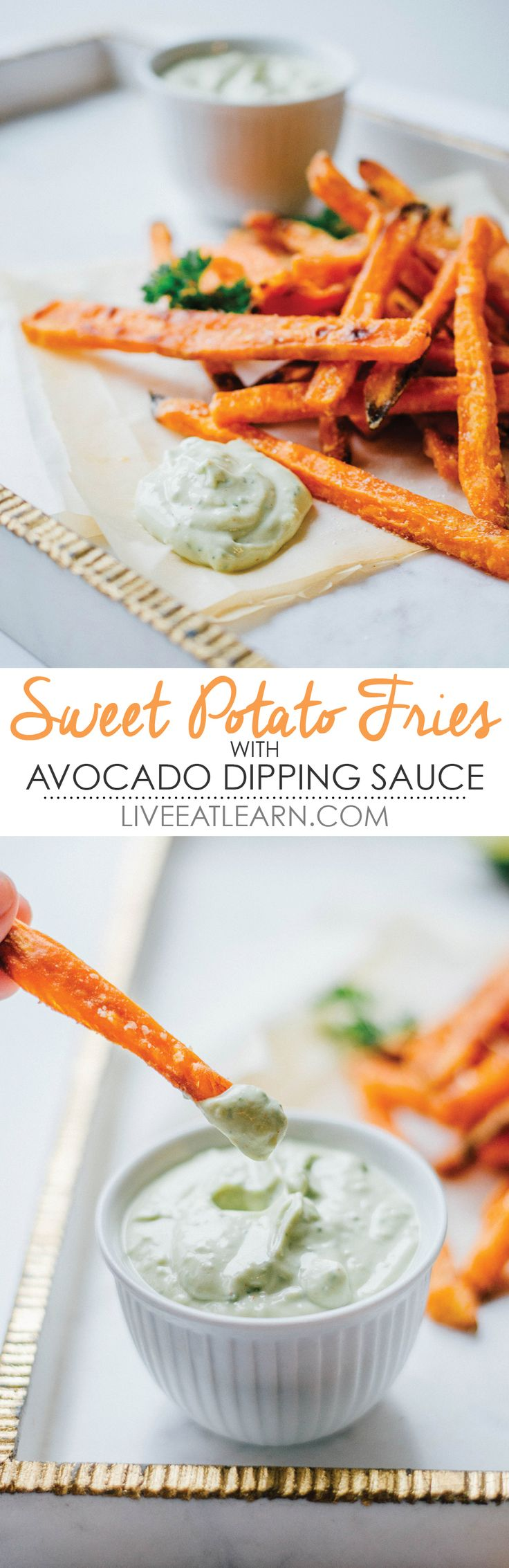 Crispy baked sweet potato fries with Greek yogurt avocado dipping sauce. A healthy fry recipe to quench your junk food snack craving! // Live Eat Learn