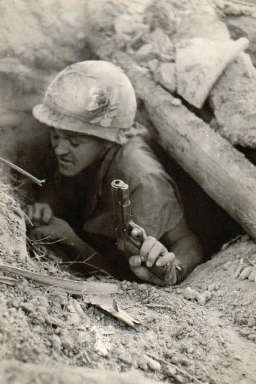 406910e8 Tunnel rat. Vietnam War. Perhaps one of the scariest jobs for the soldier.  He had to crawl into the holed out tunnels, chancing to find an e…