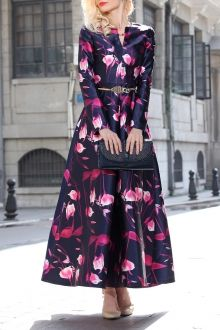 Flared Floral Maxi Dress