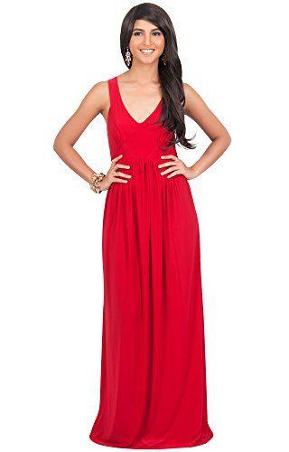 KOH KOH Women's Sleeveless V Neck Slimming Summer Sundress Gown Maxi Dress