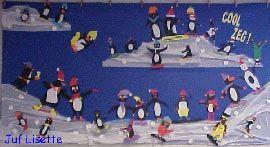 Knutselactiviteit Wintertafereel met pinguïns