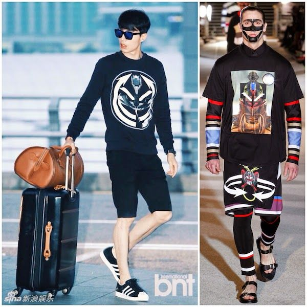 South Korean actor Lee Dong-wook [李栋旭 / 이동욱] travels with a beautiful Givenchy sweater & stunning Cartier travel bag http://www.whats-he-wearing.com/2014/08/lee-dong-wook-in-givenchy-tribal-sweatshirt-louis-cartier-travel-bag-incheon-airport.html