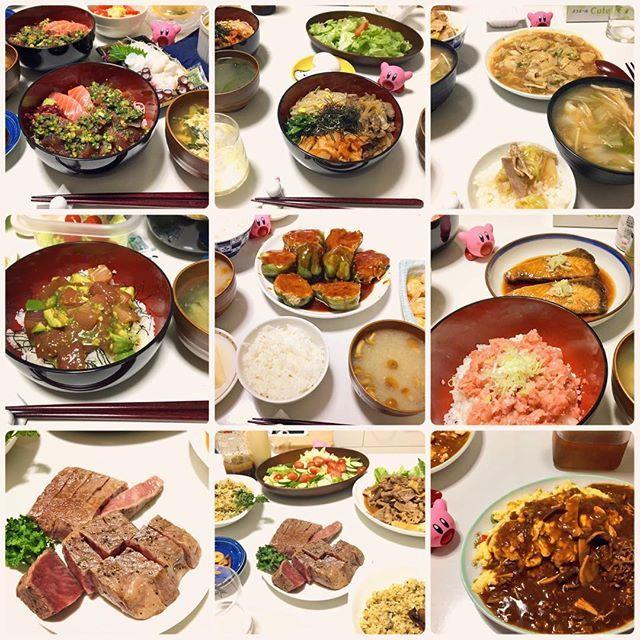 ドン多め!ご飯よ! ぶり照りめちゃうまかったからまた作る #ご飯 #夕飯 #手作り #手料理 #丼  #ヅケ丼 #ビビンバ #なにか #マグロアボカド丼 #ピーマンの肉詰め #ネギトロ丼 #ぶりの照り焼き #肉 #いい肉 #ガーリックライス #オムハヤシ