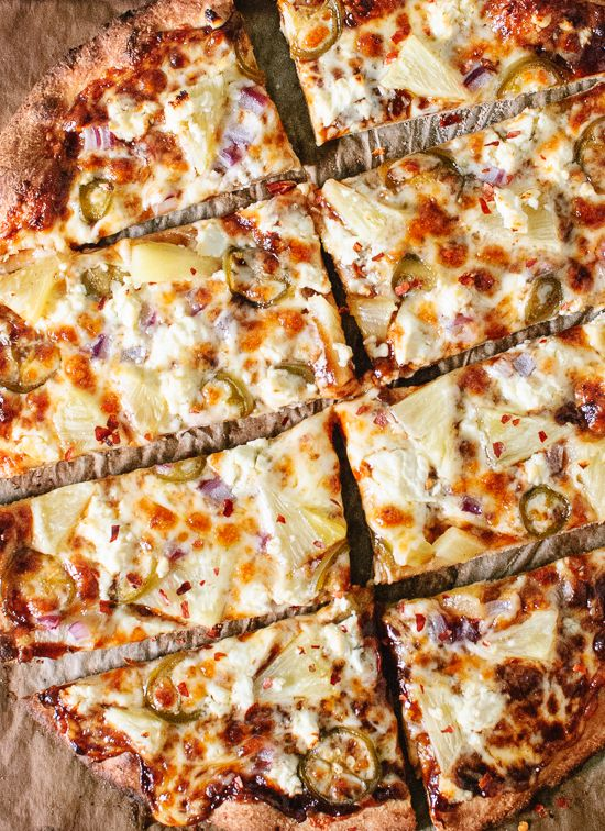 Vegetarian barbecue pizza topped with sweet pineapple, spicy jalapeño and salty feta! This pizza is totally irresistible and so easy to make at home.
