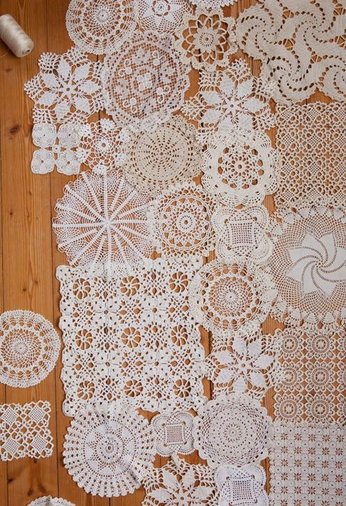 doily to cover an ugly table. Tack them together or just arrange them loosely