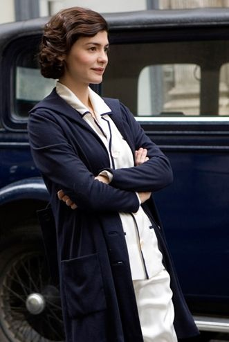 Coco Chanel chicly wearing men's pajamas as seen in Coco Before Chanel