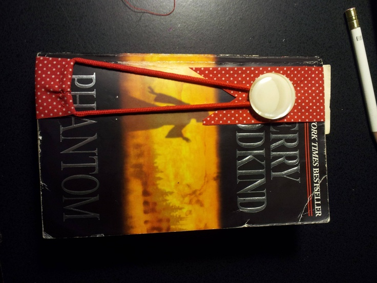 A bookmark i made using ribbon a hair tie and a button for How to tie a ribbon on a bookmark