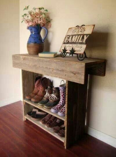 Boot and shoe shelf...cute.