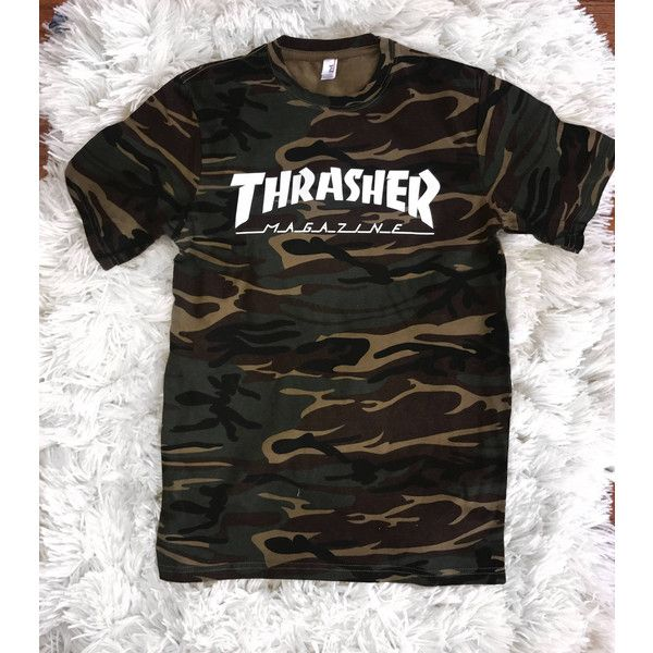 Thrasher Magazine Logo Camo Camouflage T shirt Skateboarding (33 CAD) ❤ liked on Polyvore featuring tops, t-shirts, print t shirts, faded t shirts, camoflage t shirt, print tees and camo tee