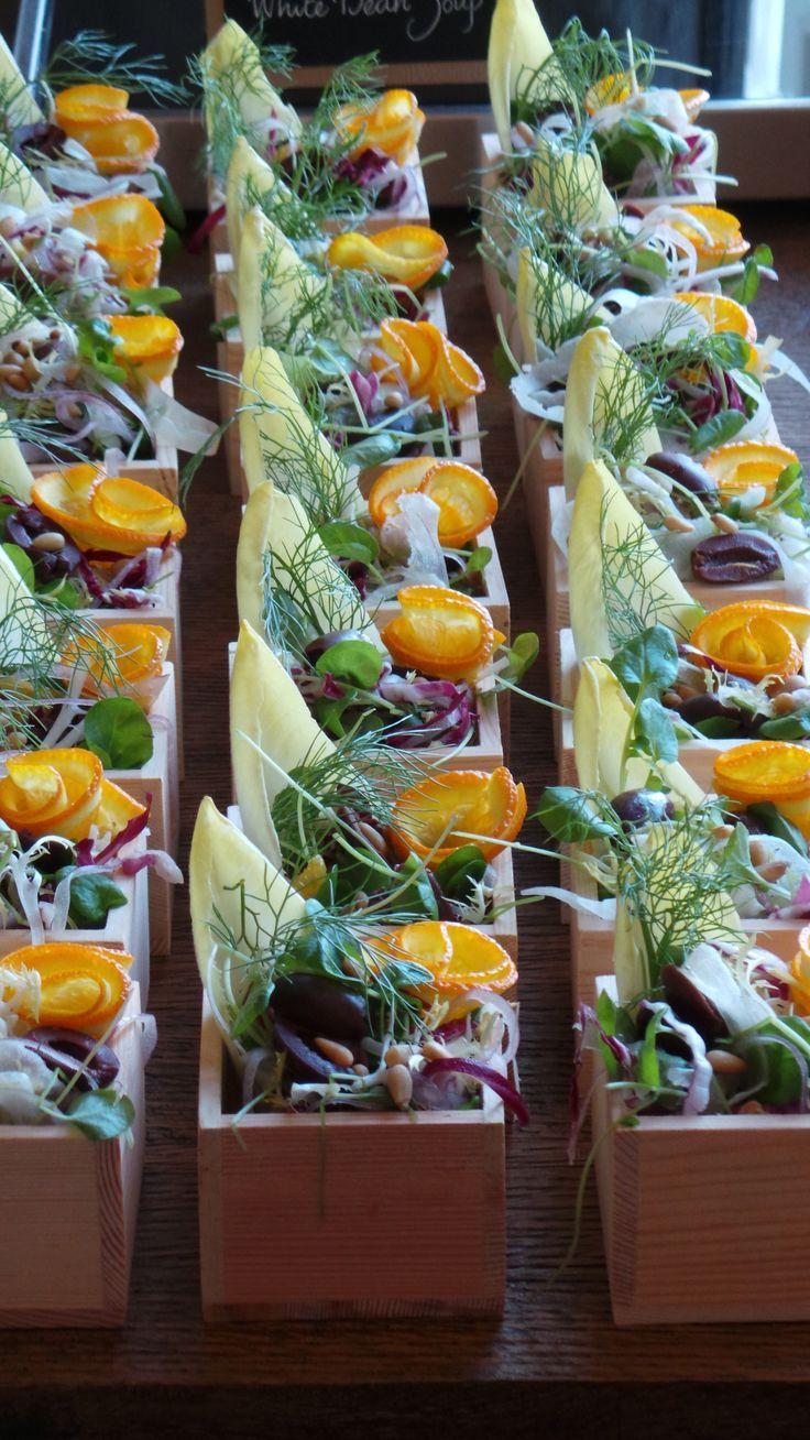 Mini salad boxes from @Mandy Dewey Seasons Hotel Boston are a delicious presentation twist.