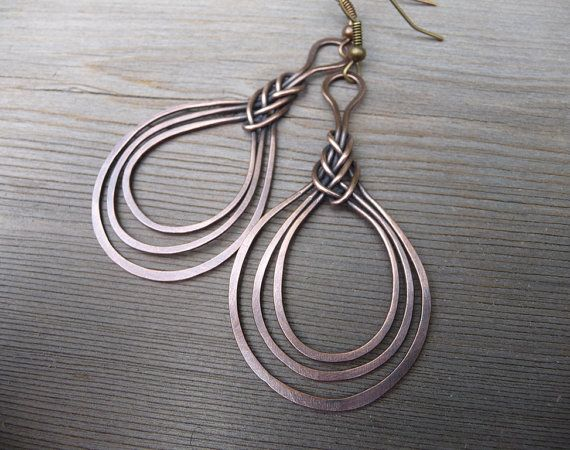 wire wrapped earring / copper wire jewelry / by fancyyoudesigns
