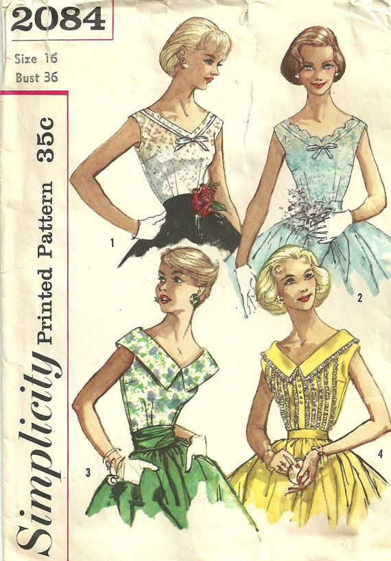 Simplicity 2084 Vintage 50s Sewing Pattern by studioGpatterns, $12.50