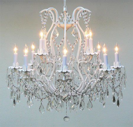 Wrought Iron Crystal Chandelier Lighting 12 Lights Country French