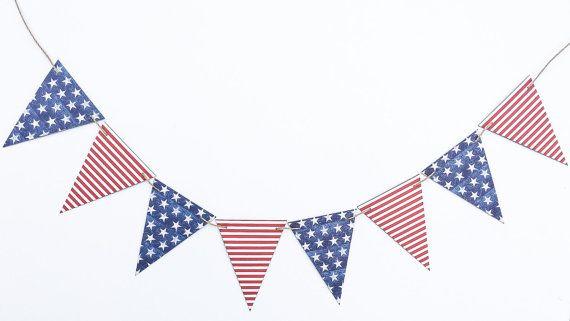 Modern American Flag Banner | America Flag Garland | American Flag Bunting | USA Flag Banner | Patriotic Flag Banner