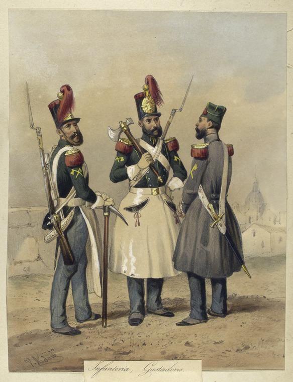 Egercito Español. Infanteria, Gastadores. From New York Public Library Digital Collections.