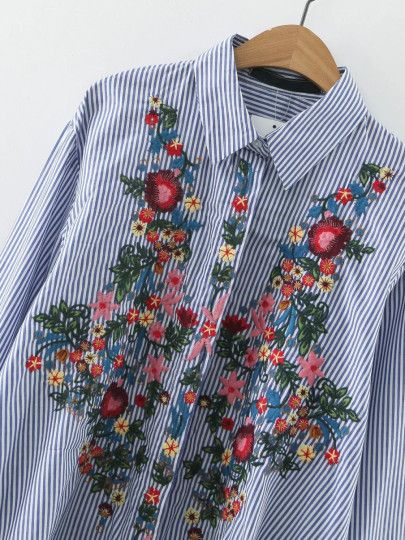 Blue Vertical Striped Flower Embroidery Dip Hem Blouse -SheIn(Sheinside) Mobile Site