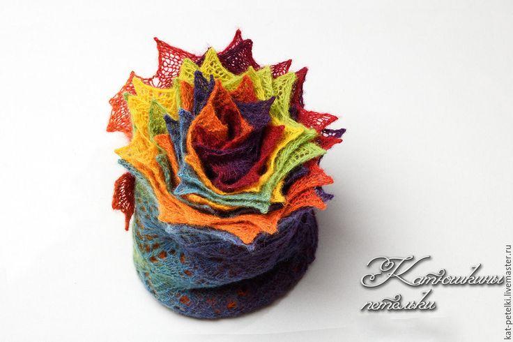 Купить Вязаный ажурный палантин цвета радуги Прекрасная Ирида - теплый подарок, осень-зима